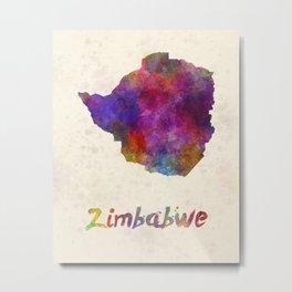 Zimbabwe in watercolor Metal Print