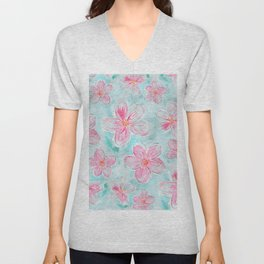 Hand painted teal fuchsia watercolor floral Unisex V-Neck