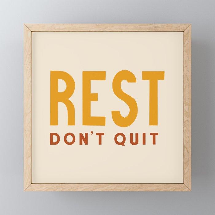 Rest Don't Quit in Mustard + Bronze Framed Mini Art Print