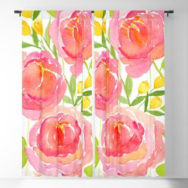 Pink Peonies - Watercolor Floral Print Blackout Curtain