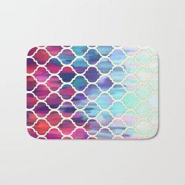 Moroccan Meltdown - pink, purple & aqua painted tiles Bath Mat