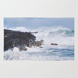 Crashing Waves on Lava Rock Cliffs Rug