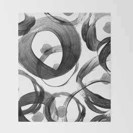 Modern abstract black white hand painted brushstrokes Throw Blanket