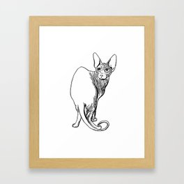 Sphynx Cat Illustration - Sphynx - Cat Drawing - Naked Cat - Wrinkly Cat - Black and White Framed Art Print