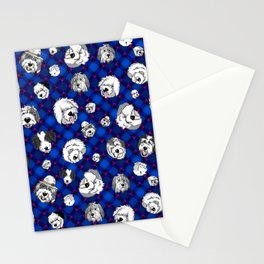 Navy Plaid Furbaby faces Stationery Cards