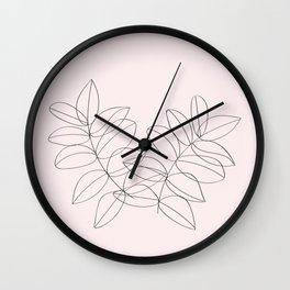 Boho Neutral Beige, Line Art Botanical Wall Clock