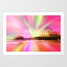 Santa Monica Pier Pink Explosion Art Print