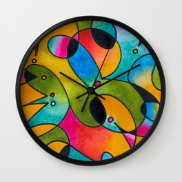 Abstract Gradient Critters Wall Clock