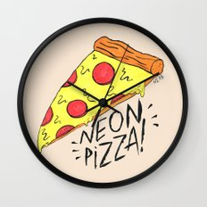 NEON PIZZA Wall Clock