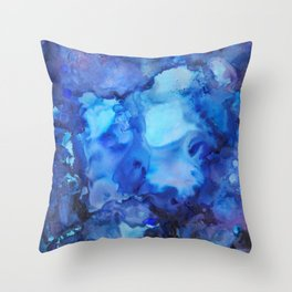 Abstract blue alcohol ink painting Throw Pillow