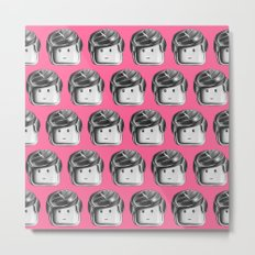 Minifigure Pattern - Pink Metal Print