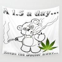 cannabis Wall Tapestries featuring TIMOTHY THE CANNABIS BEAR  by Timmy Ghee CBP