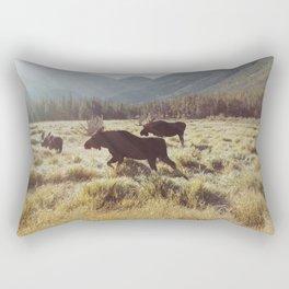 Three Meadow Moose Rectangular Pillow