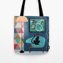 Creature Comforts Mid-Century Interior With Black Cat Tote Bag