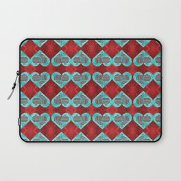 Abstract Turquoise and Bright Red Diamond Hearts Laptop Sleeve