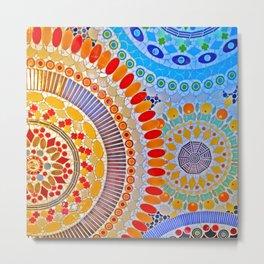 mosaic tile artwork blue orange red green Metal Print