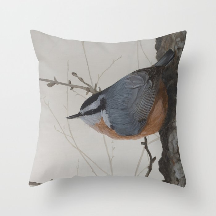 Red-breasted Nuthatch at Yellowknife River Throw Pillow by ShawnaLampiLegaree - Cover (16