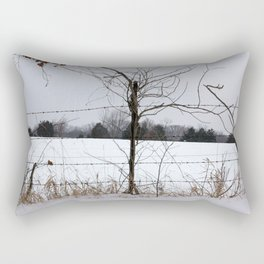 Snow covered field behind barb-wire fence Rectangular Pillow