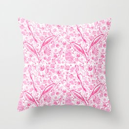 Mermaid Toile - Hot Pink Throw Pillow