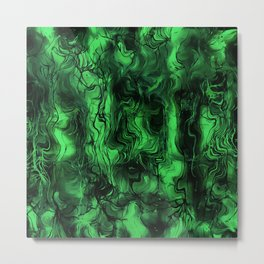 Nervous Energy Grungy Abstract Art Mint Green And Black Metal Print
