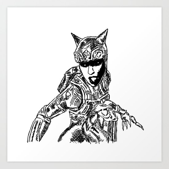 Cat Woman Injustice Art Print