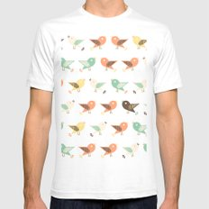 Assorted birds pattern SMALL White Mens Fitted Tee