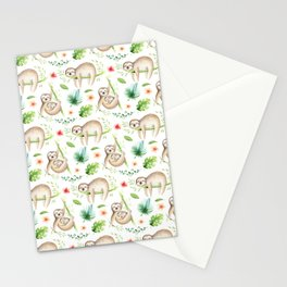 Modern hand painted green brown watercolor tropical floral sloth Stationery Cards