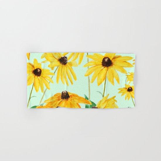 yellow sun choke flower 2 Hand & Bath Towel