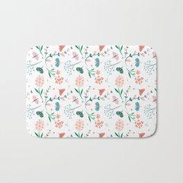 Flora & Butterflies (White) Bath Mat