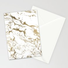 Modern chic faux gold white marble pattern Stationery Cards