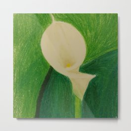 Cala Lily On Abstract Background Metal Print