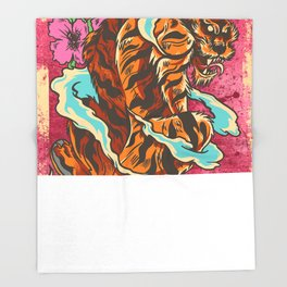 Skating tiger , hidden flower Throw Blanket