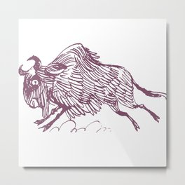 Wildebeests drove Metal Print