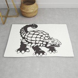Ankylosaurus Dinosaur Prehistoric Black and White Rug