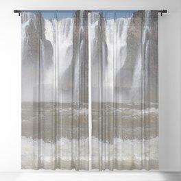 Iguazu Iguassu Waterfall Landscape Panorama Scenery, Brazil Argentina 2 Sheer Curtain