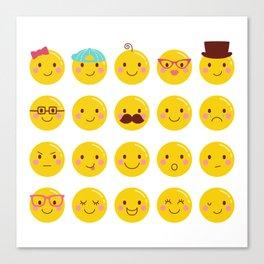 Cheeky Emoji Faces Canvas Print