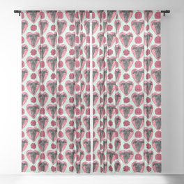 Cute Black Puppy Faces over Red Hearts - Valentine's Day Theme Sheer Curtain