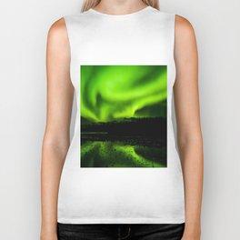 aurora borealis northern lights sky Biker Tank