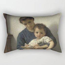 "William-Adolphe Bouguereau ""La grande soeur (The big sister)"" Rectangular Pillow"
