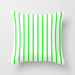 Vertical Lines (Green/White) Throw Pillow