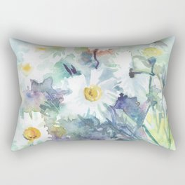 watercolor drawing - white daisies, beautiful bouquet, painting Rectangular Pillow