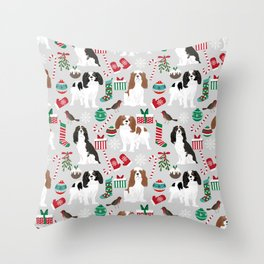 Cavalier King Charles Spaniel christmas pattern gift for dog lover pet friendly pet portrait Throw Pillow