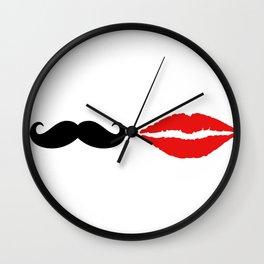 She & He: lips ad moustache Wall Clock
