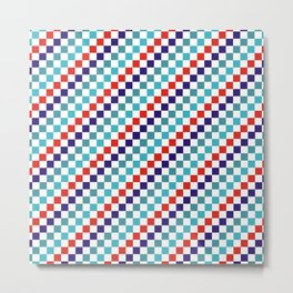 Gridded Red Tale Blue Pattern Metal Print