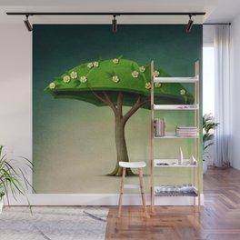 A umbrella  single flowering tree Wall Mural