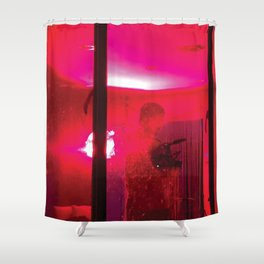 Red Camera Man Shower Curtain