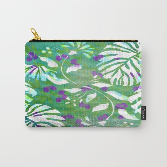 Tropical Flowers and Leaves Abstract  Carry-All Pouch