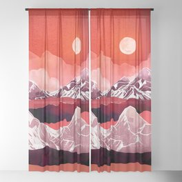 Scarlet Glow Sheer Curtain