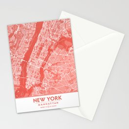 Living Coral Blush Pink Mantel Decor showing Manhattan New York City. Minimalist Layered Artwork Stationery Cards