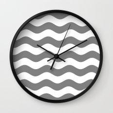 Wavy Stripes (Gray/White) Wall Clock
